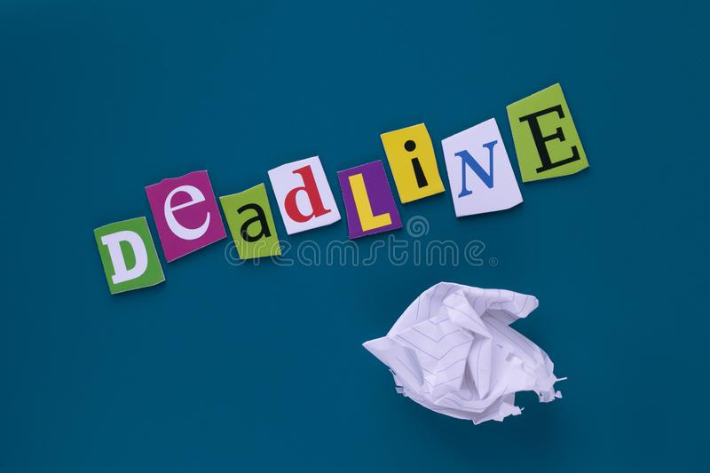 Inscription, headline - deadline. A word writing text - deadline, made of different magazine newspaper letter. Project management. Deadline - word writing on royalty free stock images