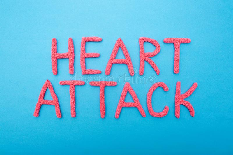 Inscription Heart attack on a blue background concept of myocardial infarction and heart muscle, brain, cardiology royalty free stock images