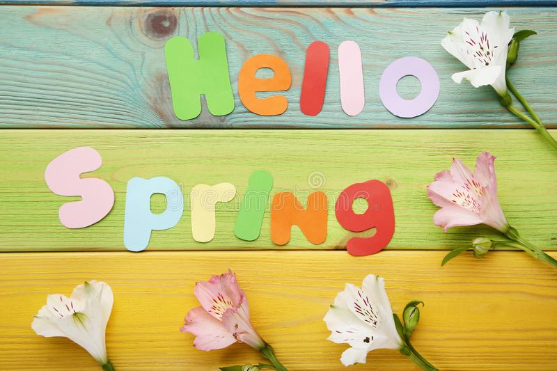 Inscription Hello Spring stock images