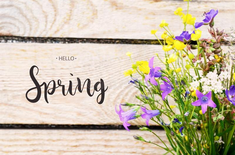 Inscription Hello Spring. royalty free stock photography