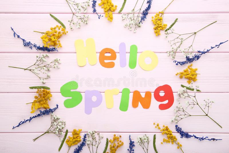 Hello Spring with flowers royalty free stock photo