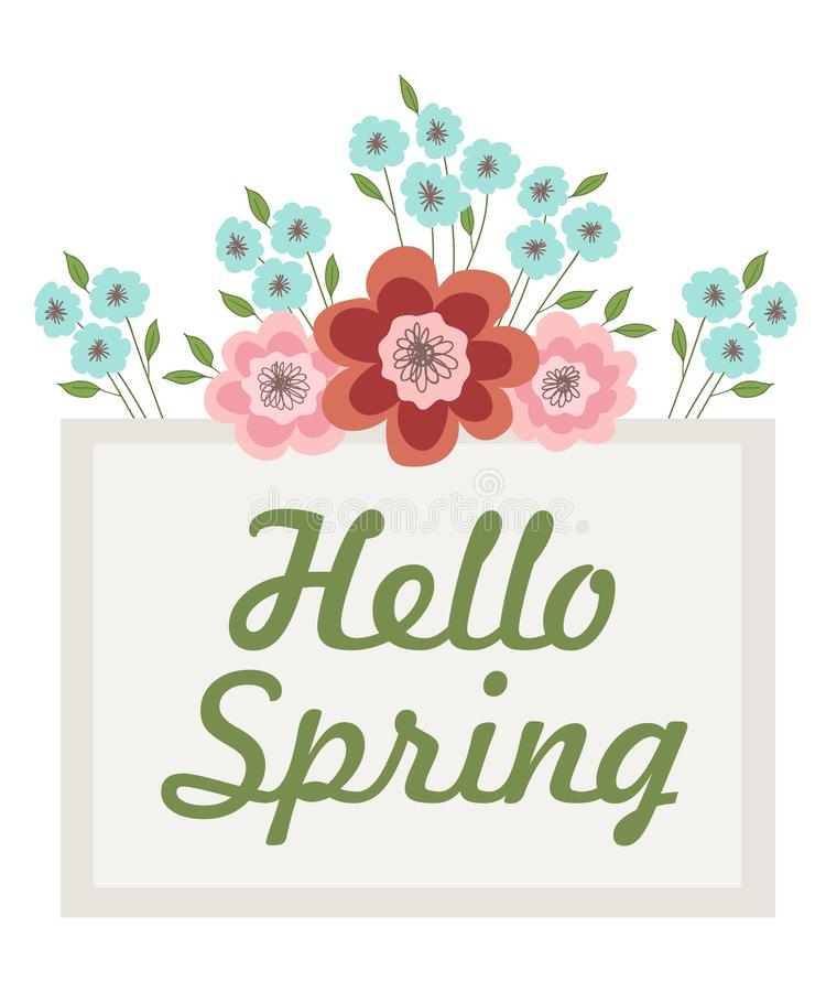 Inscription Hello Spring in a frame decorated with flowers and leaves. Vector illustration on white background stock illustration