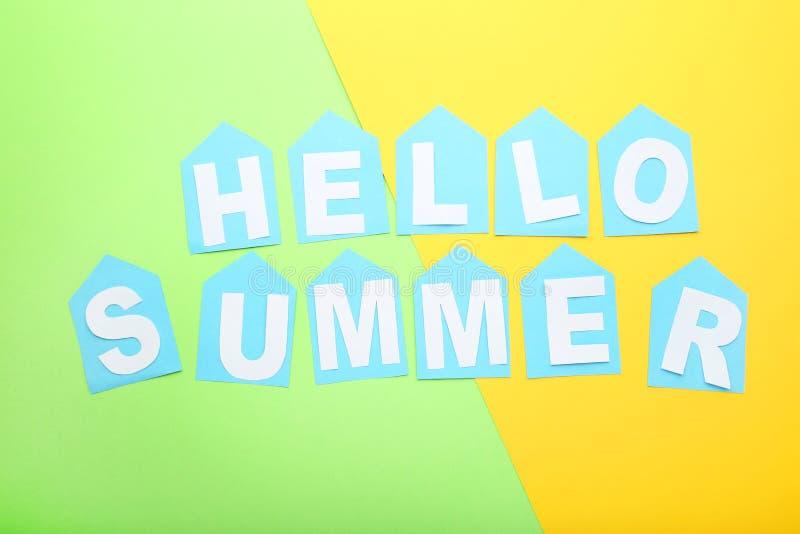 Inscription Hello Summer stock photography