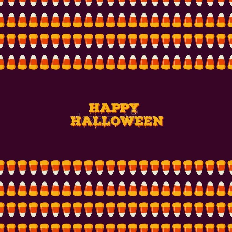 Inscription heureuse de Halloween avec la frontière sans couture horizontale faite de petits bonbons au maïs Concept de des bonbo illustration de vecteur