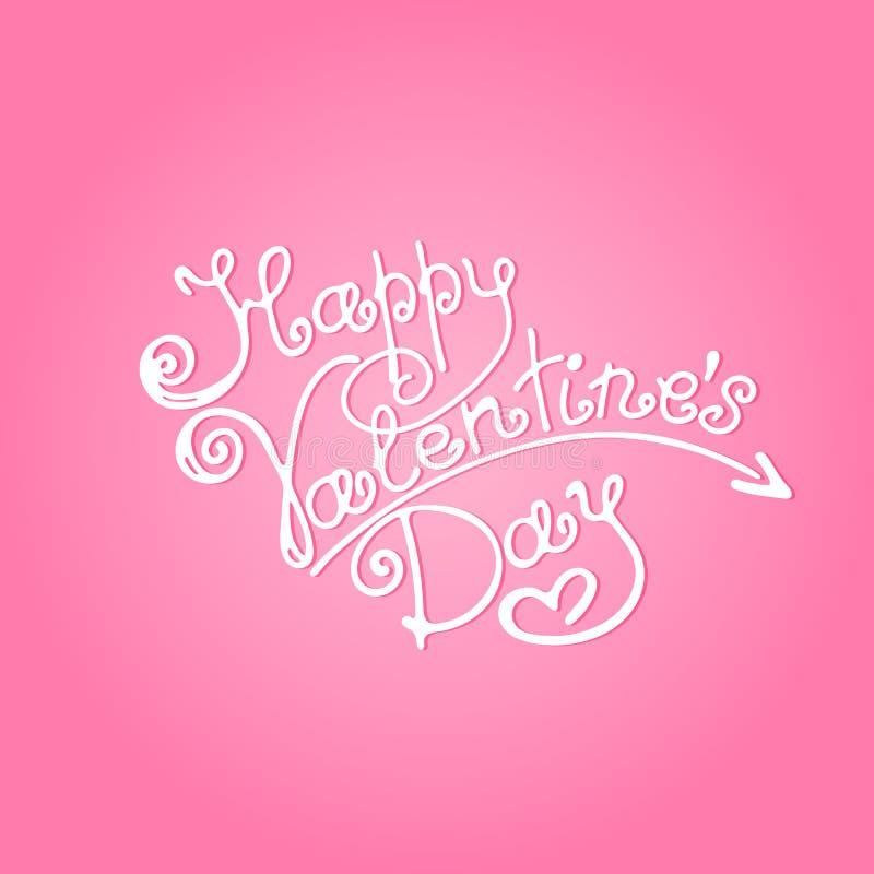 Inscription heureuse de jour du ` s de Valentine sur un fond rose illustration stock