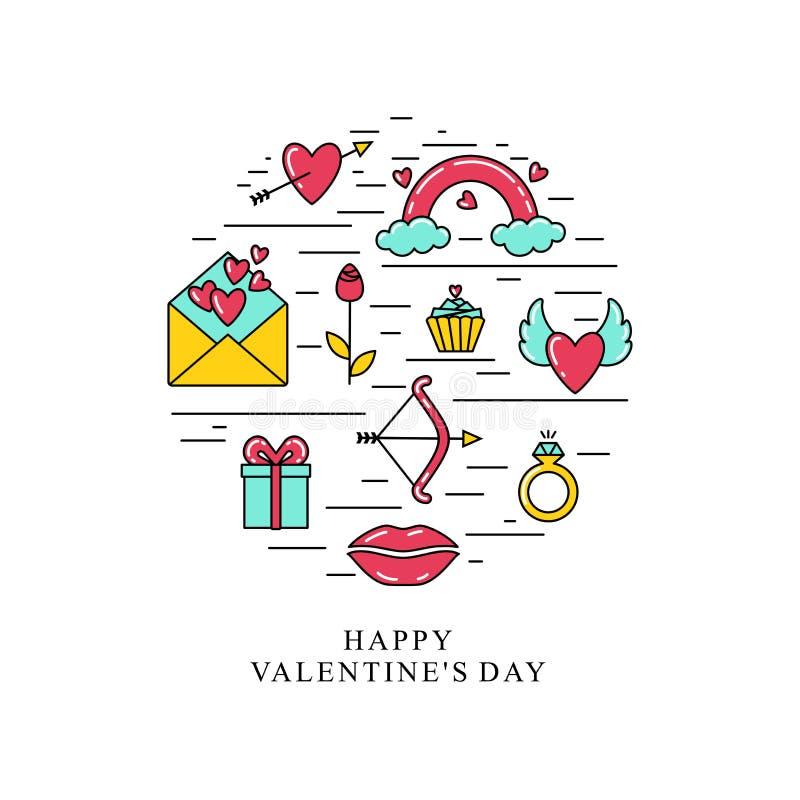 Inscription heureuse de jour du ` s de Valentine Symboles de Saint-Valentin, placés dans un cercle illustration stock