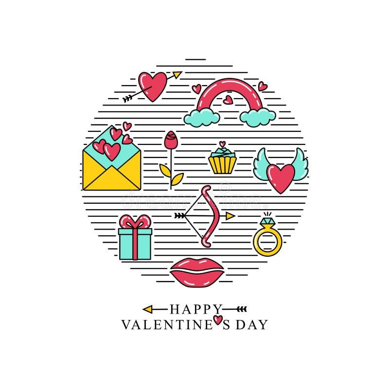 Inscription heureuse de jour du ` s de Valentine Symboles de Saint-Valentin, placés dans un cercle illustration de vecteur