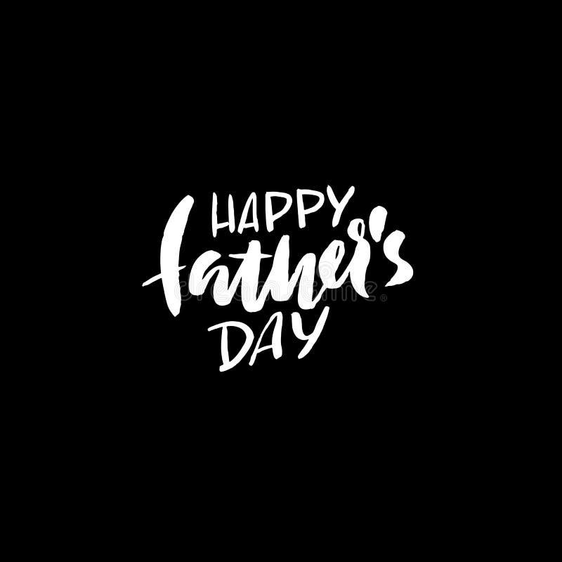 Inscription heureuse du jour de père Illustration de vecteur Calibre de logo de carte de voeux du jour de père Lettrage heureux d illustration stock