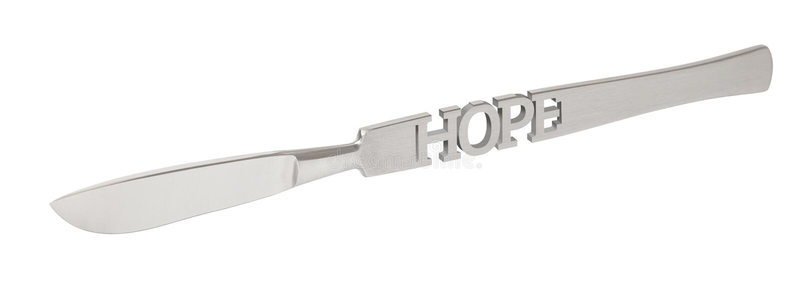 Inscription HOPE on the scalpel. Operation as the last hope for life. 3d render.  vector illustration