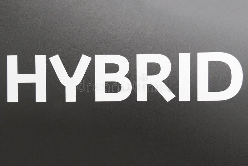 Inscription HYBRIDE sur un fond gris illustration de vecteur