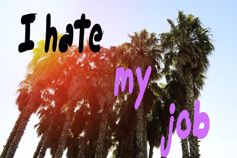 Inscription, I hate my job, against the backdrop of palm trees in the summer in the park in the rays of the setting sun.  royalty free stock photos