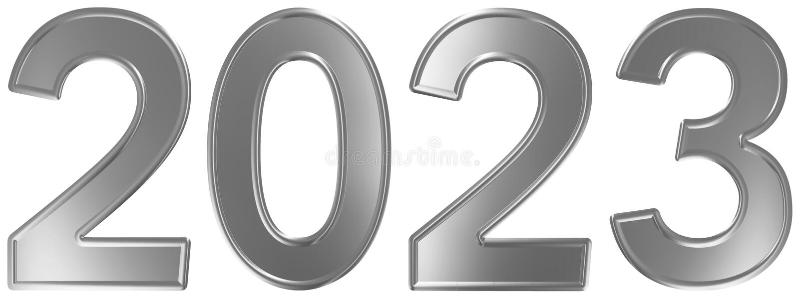 2023 inscription, isolated on white background, 3d render royalty free illustration