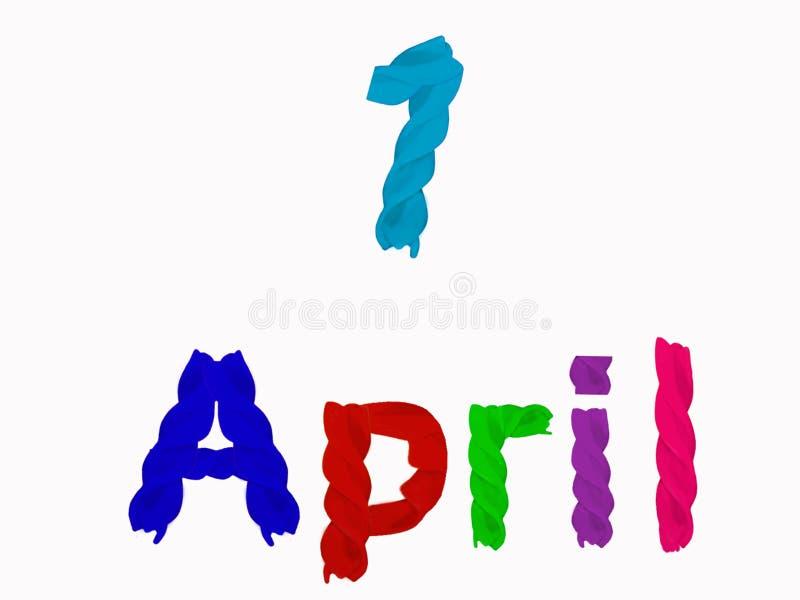 Inscription le 1er avril des pâtes colorées lumineuses sur un fond blanc illustration libre de droits