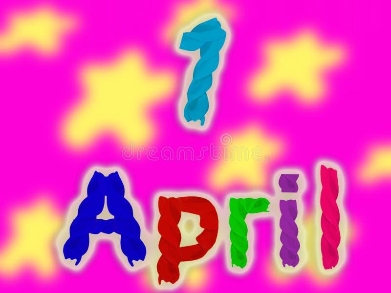 Inscription le 1er avril des pâtes colorées lumineuses sur un fond rose lumineux avec des formes brouillées illustration stock