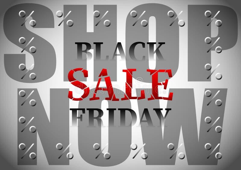 Inscription, lettering, caption, title Black friday Sale, Shop now, percent royalty free illustration