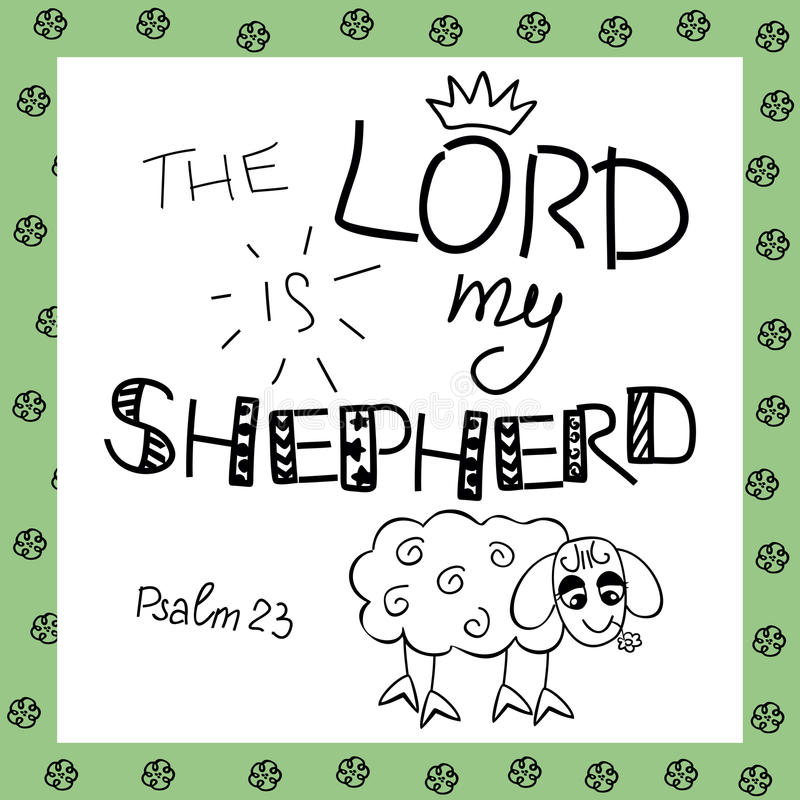 The inscription the Lord is my shepherd, near the sheep. Biblical background. Christian poster. Psalm 23. Sunday school. Children s Ministry royalty free illustration