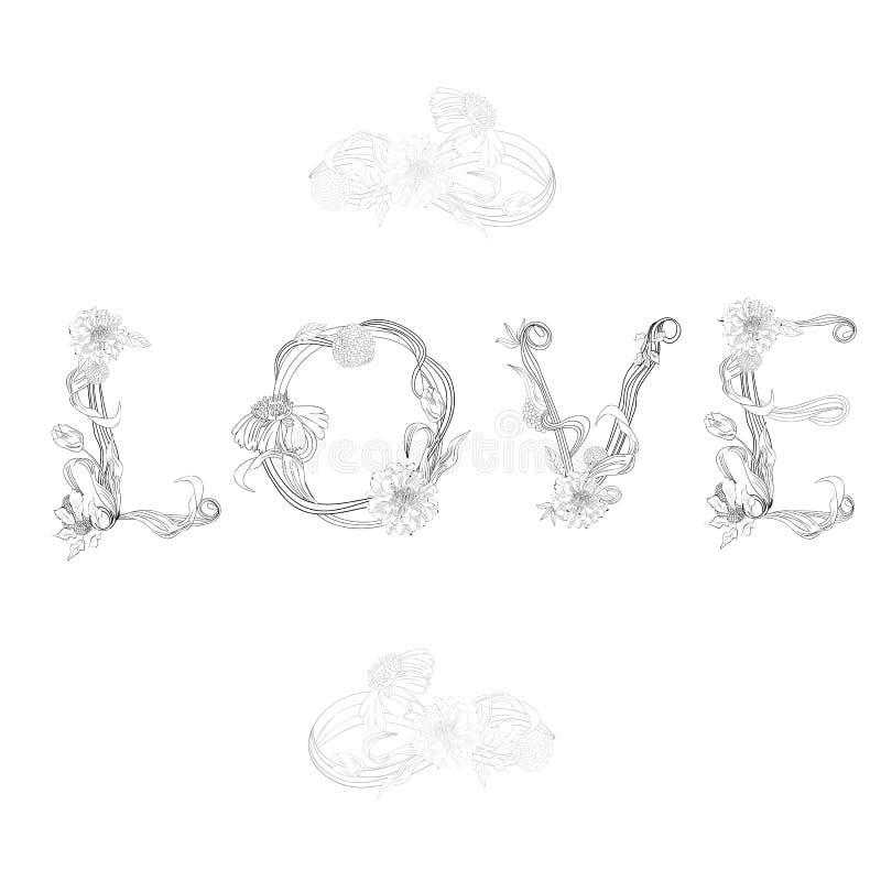 Download Inscription LOVE stock vector. Image of leaf, decorative - 21586852