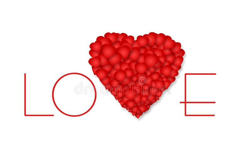 Inscription Love and red heart on a white background. Isolated. Mother`s Day, Valentine`s Day background. vector illustration