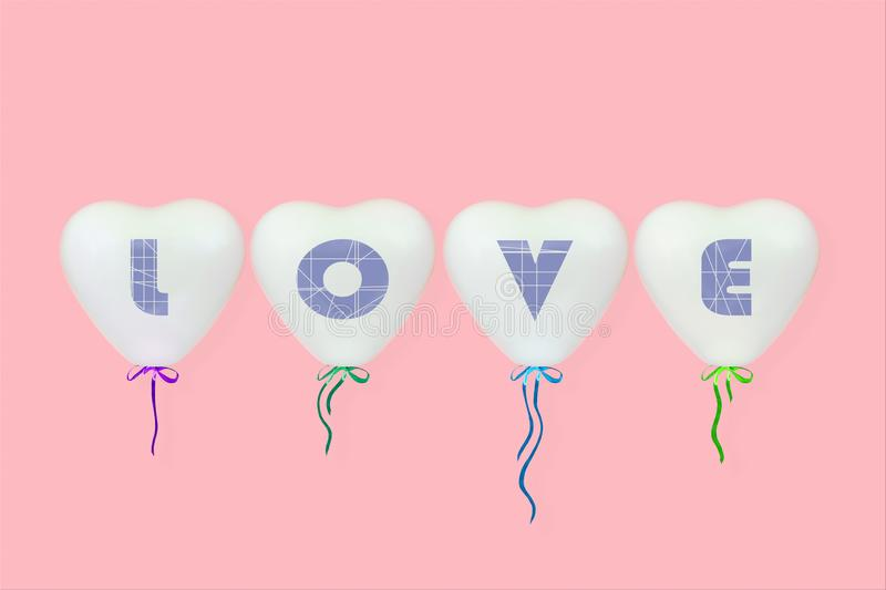 The inscription love on white heart shaped balloons on a coral pink background royalty free stock photography