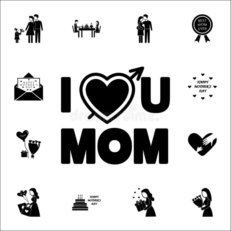 inscription love you mother icon. Mother's Day icons universal set for web and mobile stock illustration