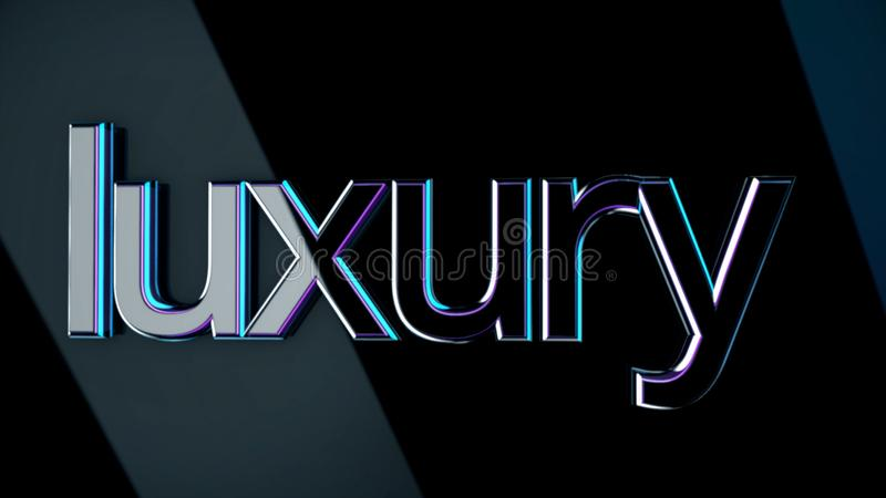 Inscription Luxury. Animation. Luxury volumetric lettering with glossy surface reflects light shine on dark isolated royalty free illustration