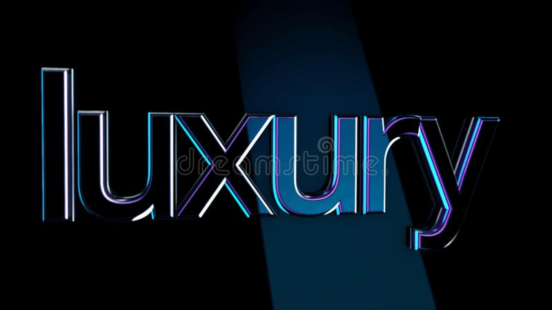 Inscription Luxury. Animation. Luxury volumetric lettering with glossy surface reflects light shine on dark isolated vector illustration