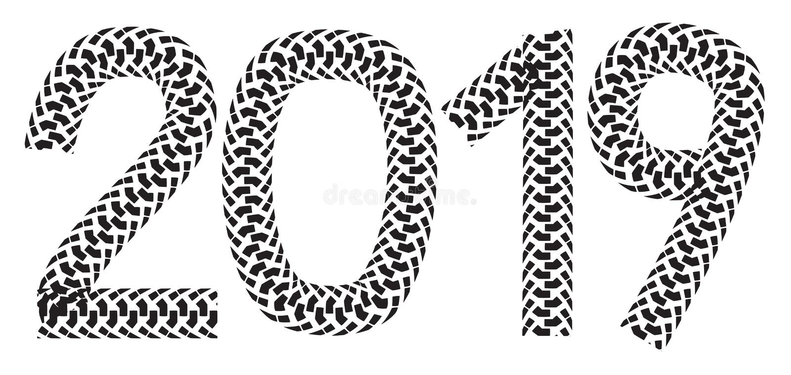 2019 inscription made from motorcycle tire tracks royalty free illustration