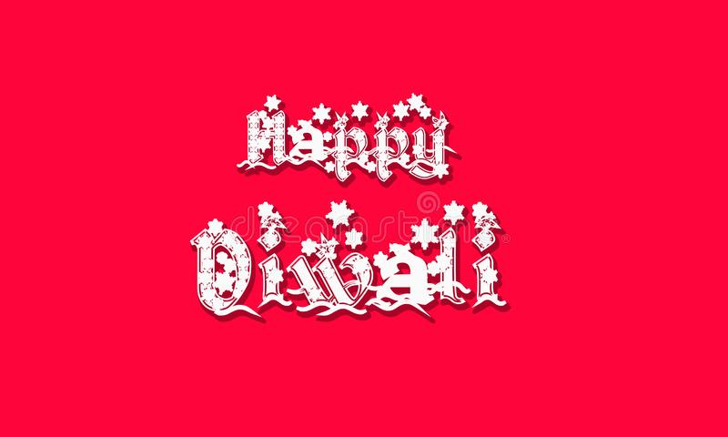 Inscription manuscrite heureuse de Diwali Le festival d'Inde des lumi?res c?l?brent le calibre de carte Typographie cr?ative pour illustration stock