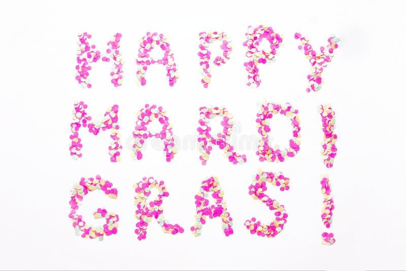 Inscription Mardi Gras from confetti. Mardi Gras. Holiday decoration cards, greetings, invitation card, banner. Inscription Mardi Gras from confetti. Mardi Gras stock photos