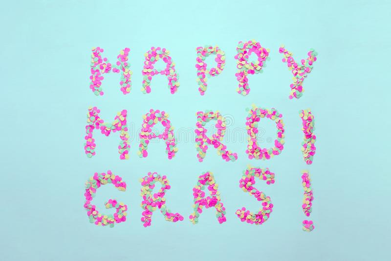 Inscription Mardi Gras from confetti. Mardi Gras. Holiday decoration cards, greetings, invitation card, banner. Inscription Mardi Gras from confetti. Mardi Gras stock images