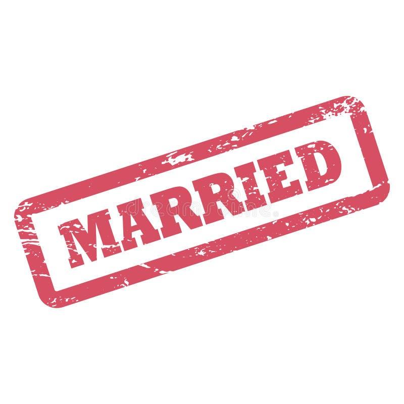 Inscription mariée dans le cadre de rectangle Tampon en caoutchouc rouge d'encre avec la texture affligée illustration de vecteur
