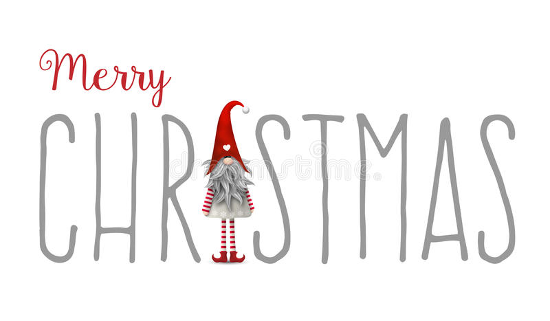 Inscription Merry Christmas, with gnome used as letter I, illustration. Inscription Merry Christmas, with gnome used as letter I, isolated on white background stock illustration