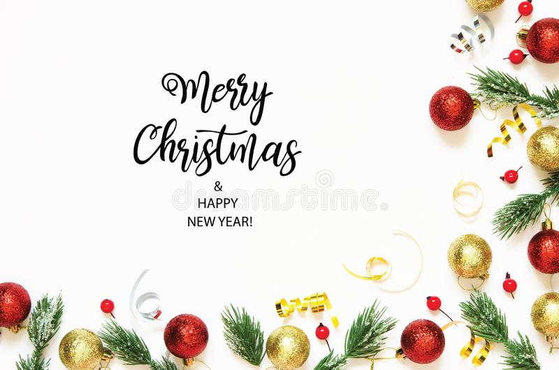 Inscription Merry Christmas and Happy New Year. Christmas decorations. Holiday and celebration concept. Top view. royalty free illustration