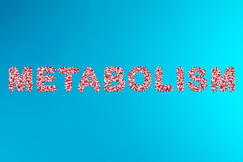 Inscription metabolism white and red pills on a blue background stock image