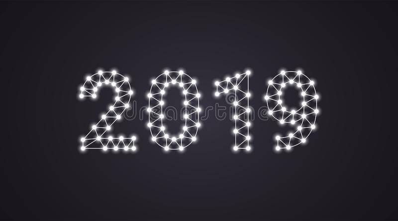 Inscription of 2019 with neon lamps. Vector illustration, glowing Text of 2019 in white color. Isolated graphic element on the royalty free illustration