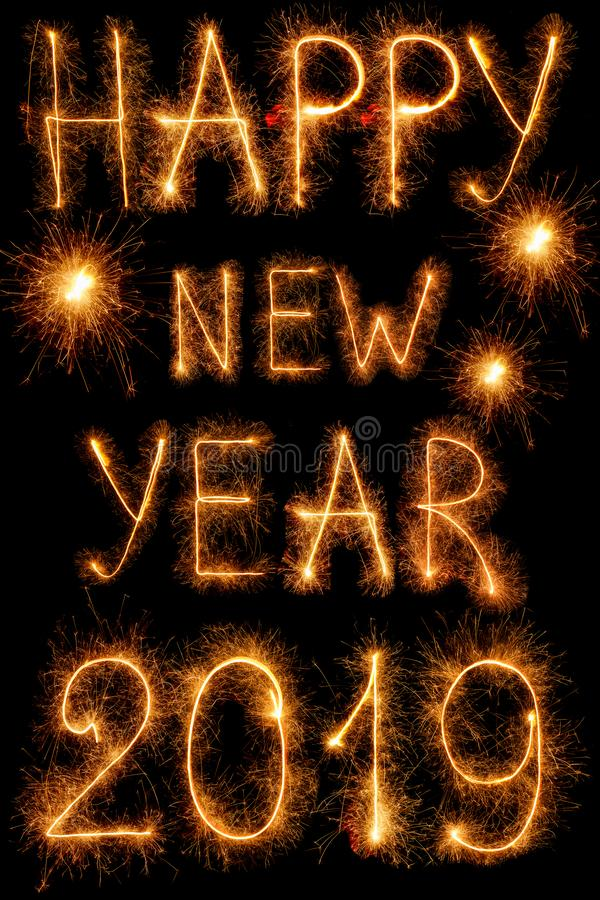 The inscription 2019 new year sparklers isolated on black vector illustration