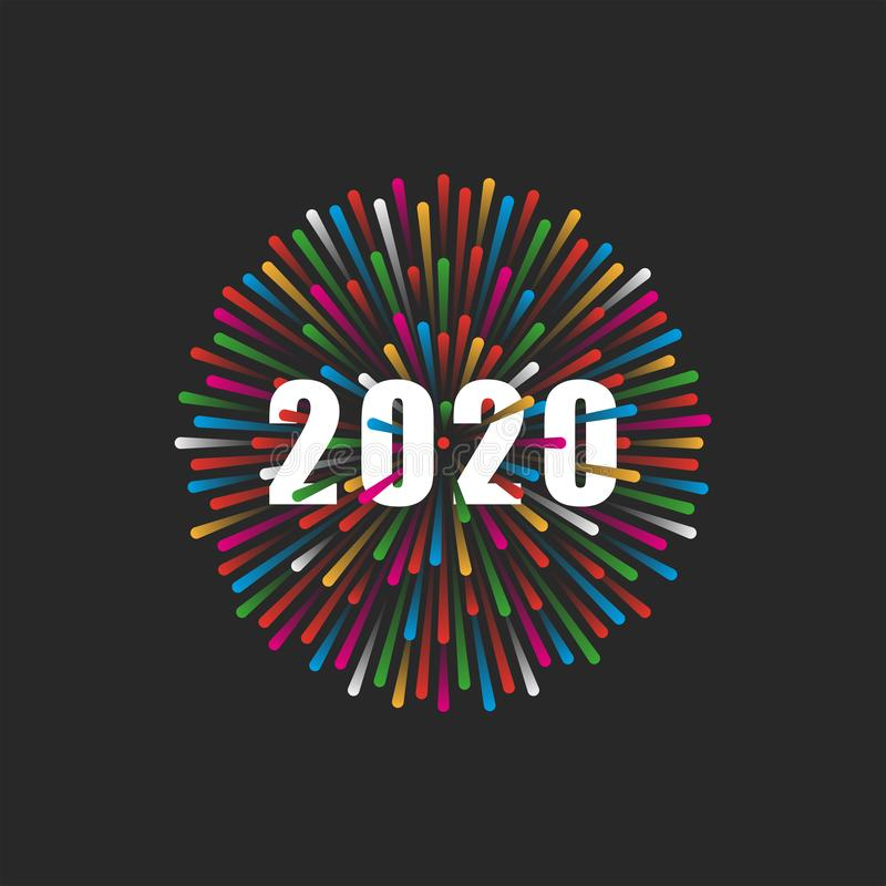 The inscription number 2020 logo on the background of a flash of fireworks for New Year`s poster, banner, flyer for a party or royalty free illustration
