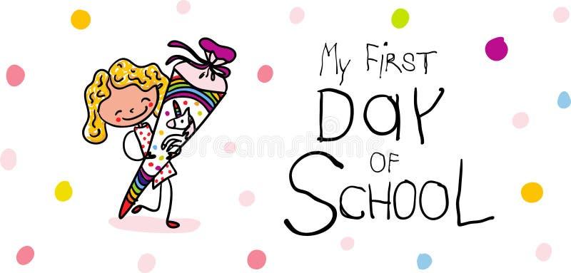 Inscription - premier jour d'école - écolière mignonne avec le cône d'école de licorne excité pour aller instruire illustration de vecteur