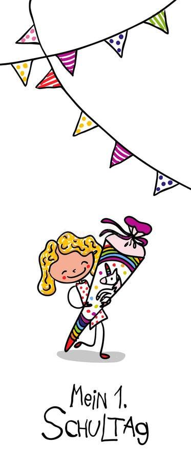 Inscription - premier jour d'école - écolière mignonne avec le cône d'école de licorne excité pour aller instruire illustration stock