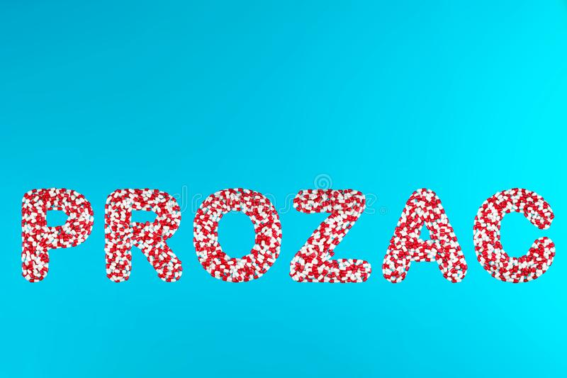 Inscription prozac white and red pills stock images