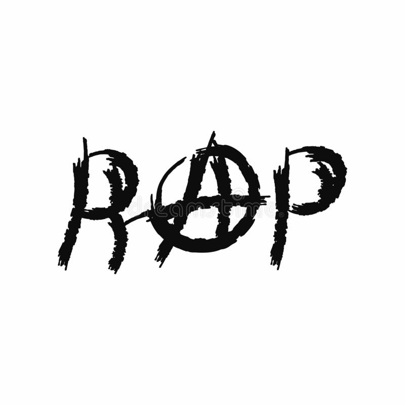 Inscription Rap with the sign of anarchy. Grunge style. Vector illustration drawn by watercolour brush. Sketch, watercolor, paint. royalty free illustration