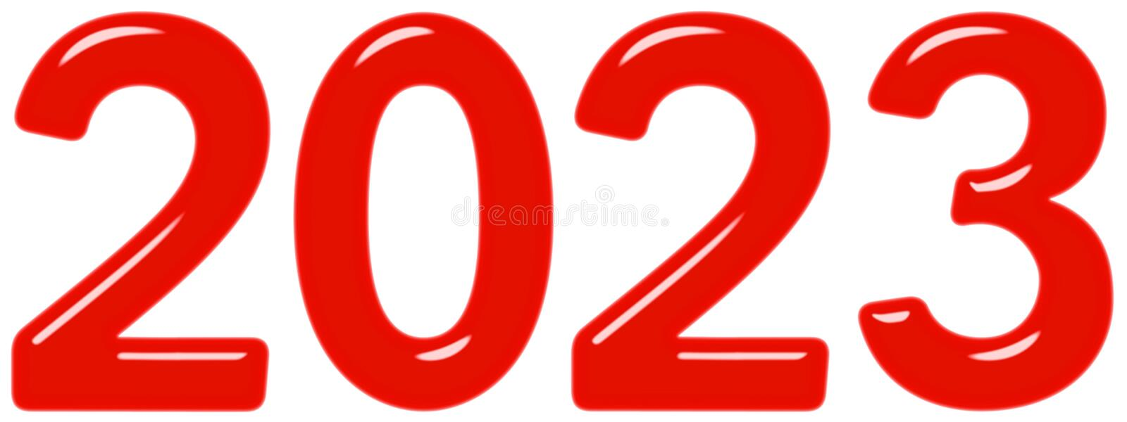 Inscription 2023 from red glass or plastic, isolated on white background, 3d render royalty free illustration