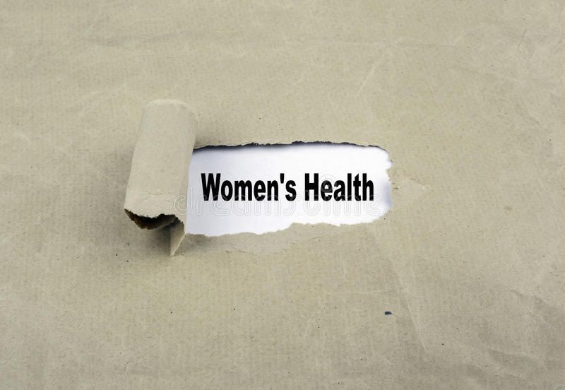 Inscription revealed on old paper - Women's Health stock photos