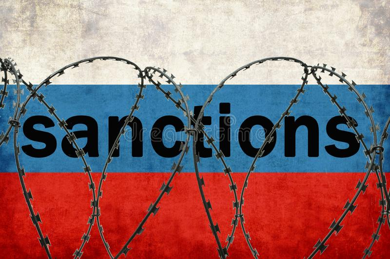 The inscription on the Russian flag Sanctions. Fenced with barbed wire stock illustration