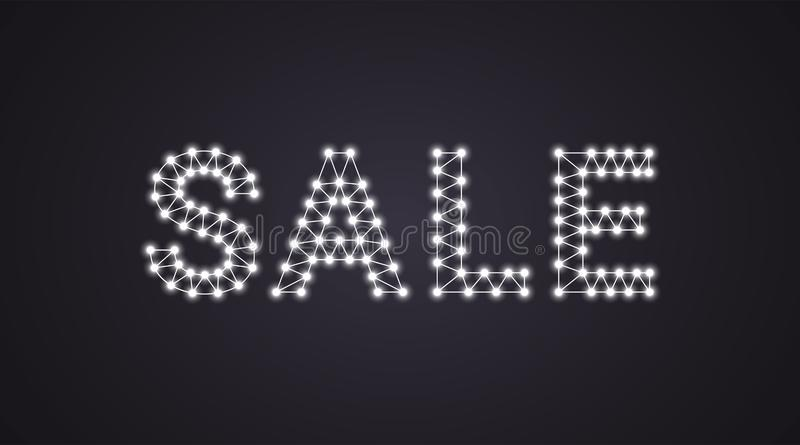 Inscription of Sale with neon lamps. Vector illustration, glowing Text of Sale in white color. Isolated graphic element on the royalty free illustration