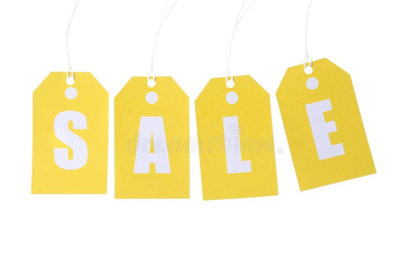 Inscription Sale on price tags isolated. On white background royalty free stock images