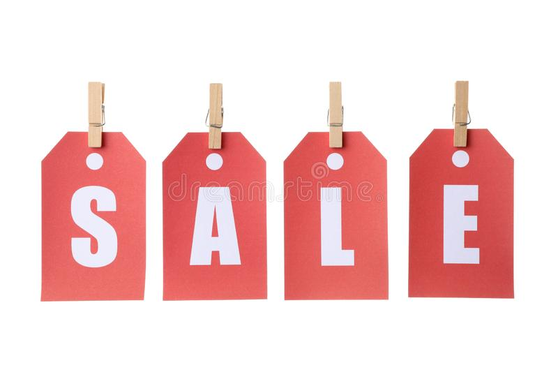 Inscription Sale on price tags isolated. On white background stock photography