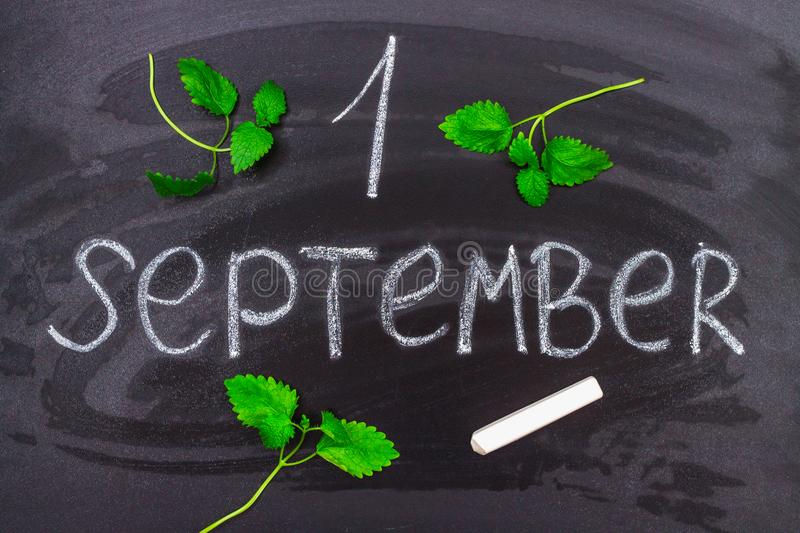 The inscription is September 1. Chalk on a blackboard. royalty free stock images
