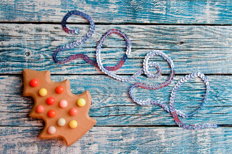 2020 inscription of sequins, stock images
