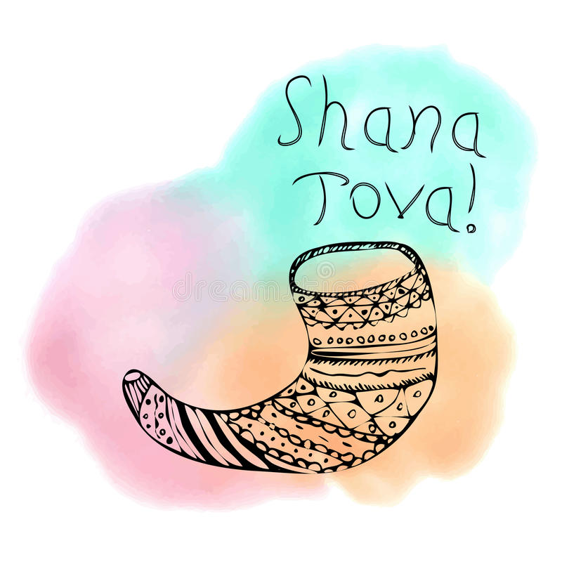 The inscription Shana Tova Hebrew. Rosh a Shana. Shofar in the style of doodle. On the watercolor stain. Hand drawing. Lettering. Vector illustration on stock illustration